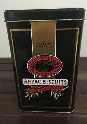 """Emu Bottom Homestead Anzac Biscuit Tin With Wattleseed """"Larger 500g Tin"""" VGC"""