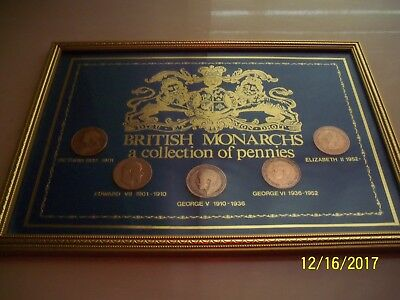 FIVE BRITISH MONARCHS A COLLECTION OF PENNIES,one for each of our last five...