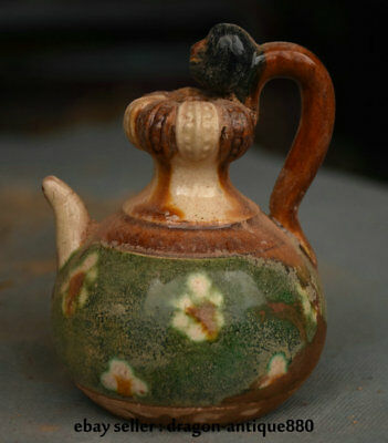 """3.6"""" Rare Old Chinese Tang San Cai Pottery Dynasty Flower Handle Wine Pot Flagon"""