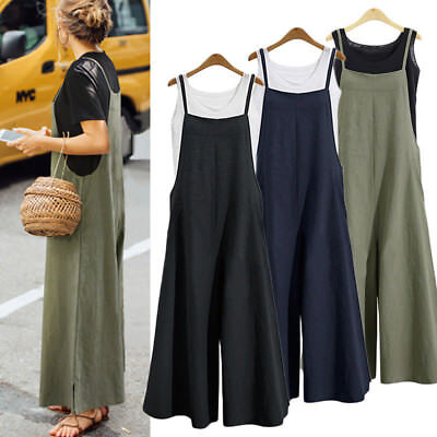 Women Strap Rompers Dungaree Oversized Trousers Casual Cotton Overalls Jumpsuit