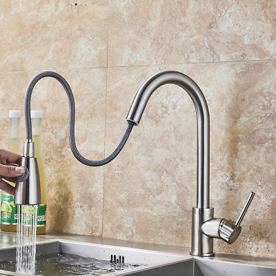 WEWE Single Handle High Arc Brushed Nickel Kitchen Faucet with Pull down Sprayer
