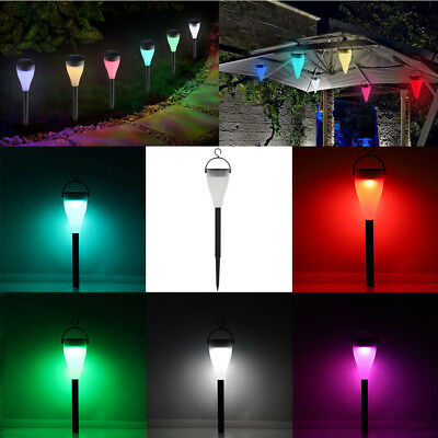 Solar Power Color Changing / White Garden Lights LED Post Pathway Lawn Lighting