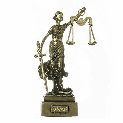 Greek Goddess Themis Statue Figurine Blind Lady Justice Lawyer Gift Bronze Tone
