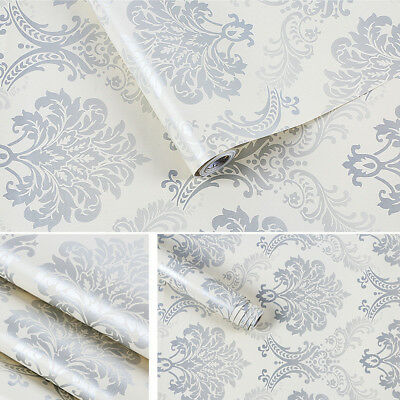 Blue Floral Embossed Self-adhesive Wallpaper Contact Paper Wall Sticker 0.45x10m