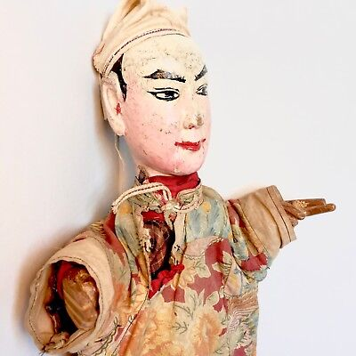 Antique Chinese Opera Puppet w Carved Painted Wooden Hands & Head - Early 20th C