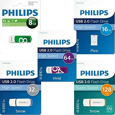 Philips High Speed USB Flash Drive 2.0 or 3.0 8GB, 16GB, 32GB, 64GB Memory Stick