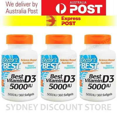 Doctor's Best Vitamin D3 5000 IU 360 Capsules x 3 bottles FREE EXPRESS POST!!!!!