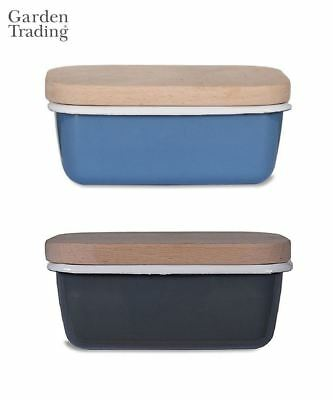 Garden Trading Enamel Butter Dish Cloche with Wooden Lid Blue or Grey