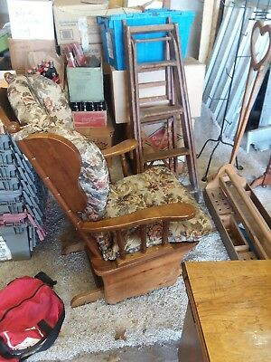 vintage solid wood glider rocker