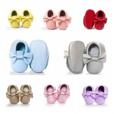 7bbaac9f5a0 Baby Tassel Soft Sole Leather Shoes Infant Boy Girl Toddler Crib Moccasin  0-18M
