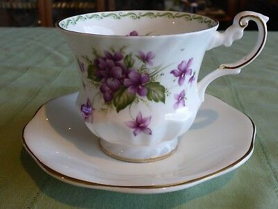 Queen's Rosina Violets Tea Cup + Foley Saucer Mismatch Duo