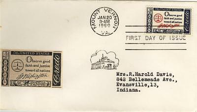 USA First Day of Issue 1960 Amercian Credo to Indiana Postmark MOUNT VERNON VA