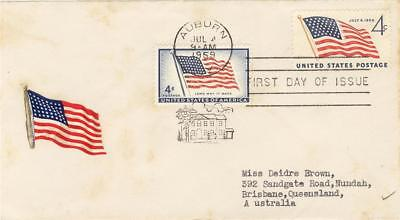 USA First Day of Issue 4c US Flag SG 1096/1131 + Flag sticker 1959  Post AUBURN