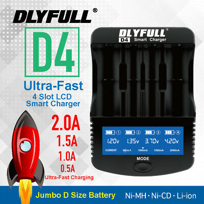 D4 Ultra-Fast 2.0A D Size Li-ion 18650 AA AAA C NiMH Battery Charger DIY Power