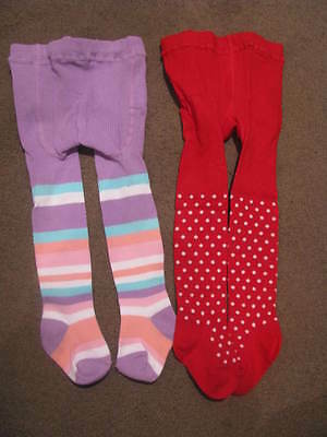 Bnip Baby Girls 2 X  Tights Stockings Size 00 - 1 Red White Dots Pastel Stripes