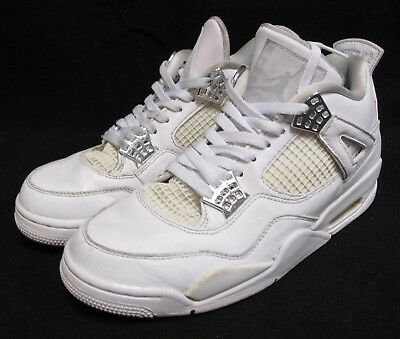 newest 21368 adbec Nike Air Jordan IV 4 Retro Pure Money White Metallic Silver 308497-100 Size  9