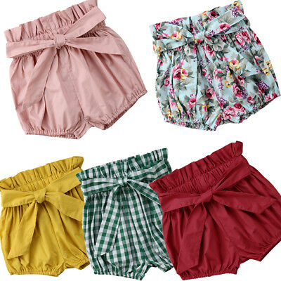 Baby Girls Cotton Bowknot Elastic Waist PP Pants Kid Bloomers Shorts Nappy Cover