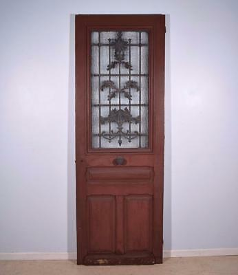 """Antique French 101"""" Solid Oak Door with Iron Grille and Hinged Window"""