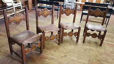 4 x mid century gothic style dining hall study chairs 96cm 372