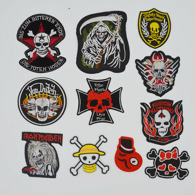 Punk Metal Rock Punk Retro Ghosts Pirate Flag Embroidery Sew Patch Iron on Badge