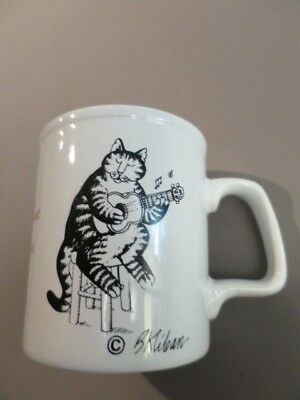 """B Kliban Cat Guitar Collectable Coffee Cup """"Eat  Them Mousies"""""""