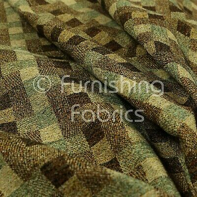 Jacquard Tapestry Geometric Square Pattern Brown Green Colour Upholstery Fabrics