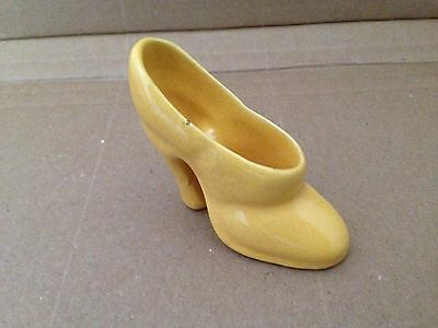 Vintage Pottery Ceramic Miniature High Heel Shoe Pale Yellow Small Cute