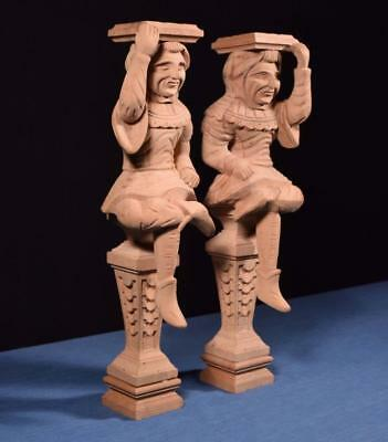 """*23"""" Pair of Vintage Unfinished Oak Figures/Support Posts Pillars Architectural"""