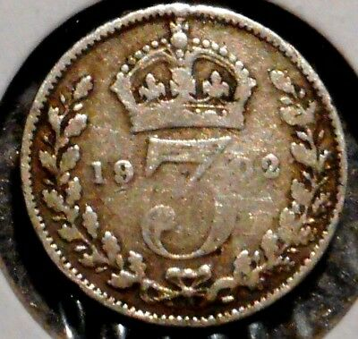 British Silver Threepence - 1902 - King Edward VII - $1 Unlimited Ship