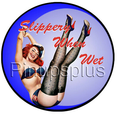 Redheaded Sailor Slippery When Wet Pinup Girl Waterslide Decal Sticker S1100