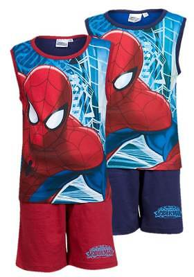 NEW Boys Spiderman Character Shorts & Vest PJs Summer Outfit Beach Set Ages 3-8