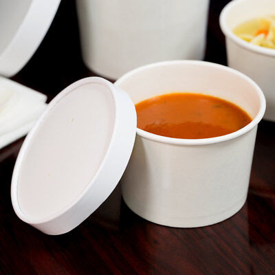 (250 Pack) 12 oz. Double-Wall White Paper Soup / Hot Food Cup with Vented Lid