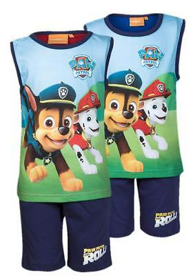 NEW Boys Paw Patrol Character Shorts & Vest PJs Summer Outfit Beach Set Ages 3-8