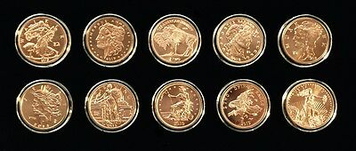 Complete Set of COPPER ZOMBUCKS!  ALL 10 1 oz. Rounds in Air-tite capsules