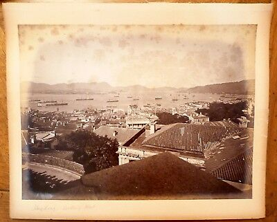 c1880 Old Original ALBUMEN PHOTOGRAPH HONG KONG HARBOR CENTRAL CHINA