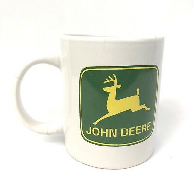 John Deere White Coffee Mug With Green Deer Logo Officially Licensed Gibson Cup
