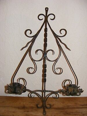 Vintage Wrought Iron Double Candle Holder Reclamation Piece