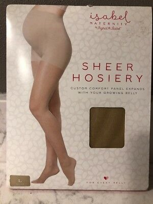 Isabel Maternity Sz LARGE Sheer Hose Pantyhose Nude-Expanding Comfort Panel NEW