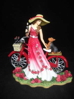 Limited Edition Coca Cola A Refreshing Promenade Lady Figure w/ Bicycle & Pup