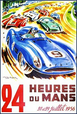 24 Hours Le Mans 1956 French Car Racing Vintage Poster Print Retro Style Car Art