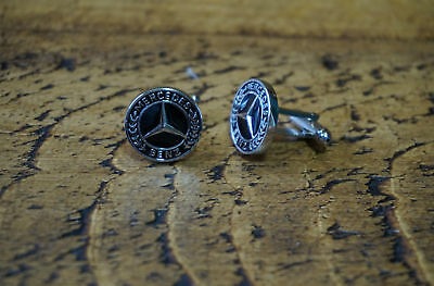 Mercedes Black & Chrome Cufflinks Great Quality New Free Pouch