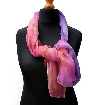 Hand dyed Silk Scarf 3.5 momme gauze Silk for Nuno Felting or wear as is
