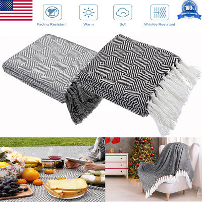 "Mutifunction 50"" x 60"" Knitted Soft Warm comfort Throw fabric Blankets +Tassels"