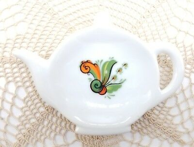 Vintage Tea Bag Holder Spoon Rest Orange Green Design