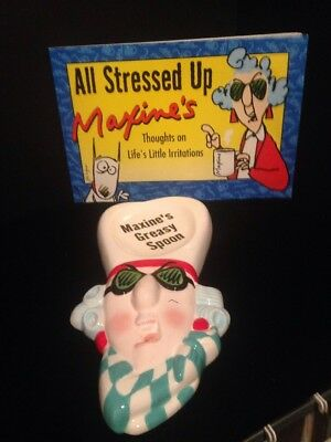 "Hallmark MAXINE book ""All Stressed Up""  and spoon rest"