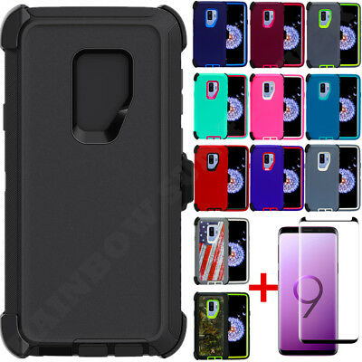 For Samsung Galaxy S9 Defender Case w/Clip fits Otterbox &Tempered Glass Screen