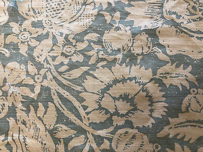 "Bennison ""Allover Floral"" Fabric Remnants in Color ""Celadon on Beige"""