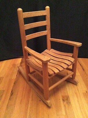Vintage Childs Kids Wooden Rocking Chair Natural Wood Slat Back U0026 Seat Arm  Rests
