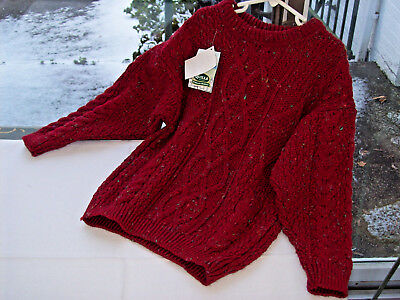 CLEARANCE nwt DONEGAL Ireland QUILLS Unisex Boy's Girls 6 ARAN CABLE Sweater Red