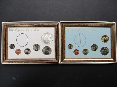 2010 framed birth year coin sets w/ BU 1 oz. .999 Morgan + Sacagawea set
